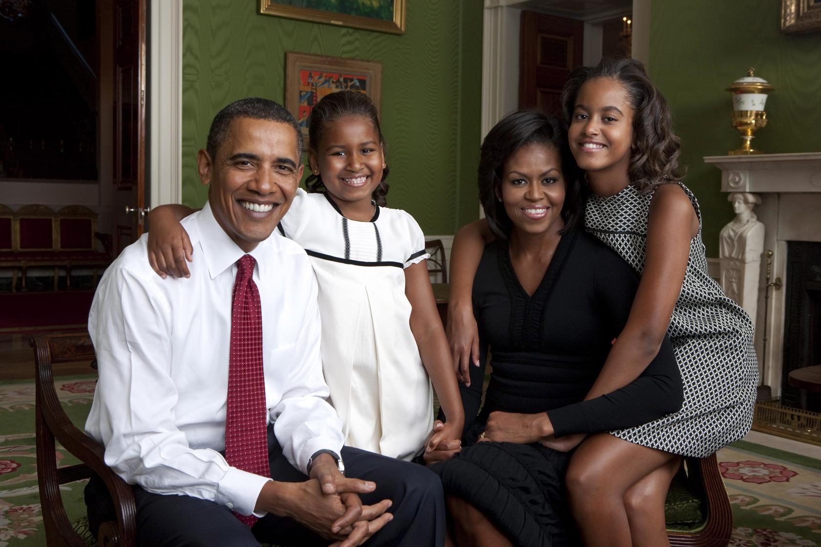 Obama Family portraits 2009 and 2011