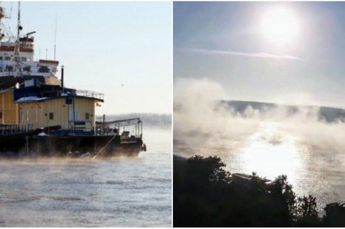 "Un fenomen meteo rar s-a petrecut in Galati! Apele Dunarii au inceput sa ""fiarba""! VIDEO"