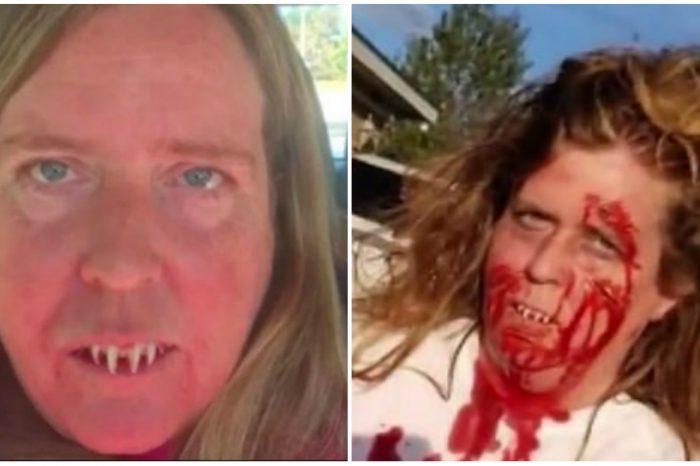 Femeia a trait momente horror, dupa o petrecere de Halloween! Si-a lipit dinti de zombie, dar a avut parte de socul vietii ei! VIDEO