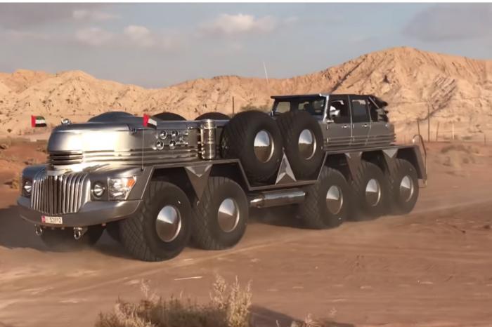 Cum arata cel mai mare SUV din lume! Are 10 roti si cantareste 24 de tone! Ciudatenia asta nu seamana cu nimic din ce ai mai vazut pana acum!