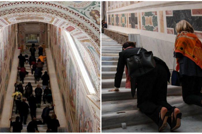 Scara pe care Iisus a urcat in Ierusalim se afla la Roma. Cum arata cele 28 de trepte sfinte VIDEO
