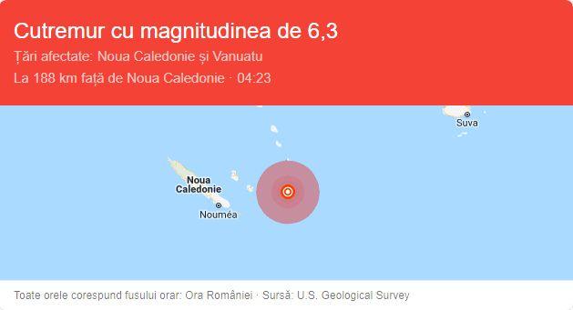 Cutremur cu magnitudinea de 6,8 grade, produs la est de Noua Caledonie