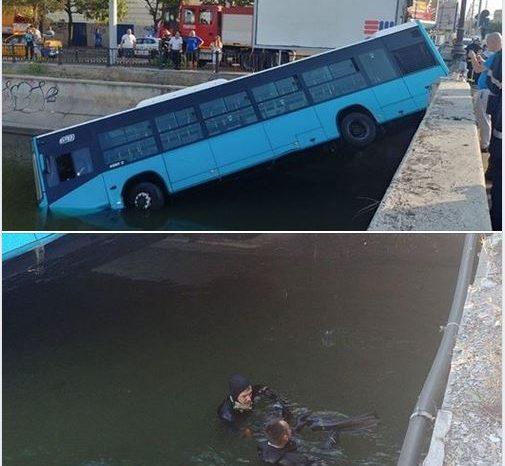 Accident spectaculos in Capitala: Un autobuz a cazut in Dambovita. Anuntul STB