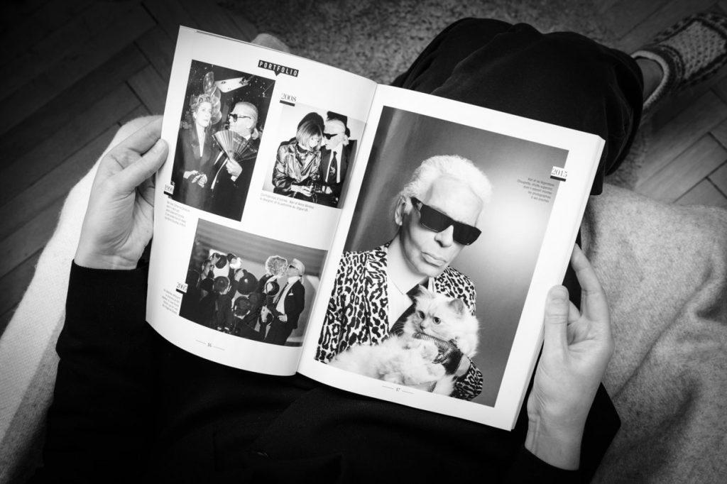 Karl Lagerfeld pisica- Foto revista cu Karl Lagerfeld